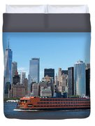 Staten Islan Ferry With Nyc Skyline Duvet Cover