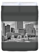 Staten Island Ferry Docks In B And W Duvet Cover