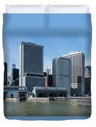 Staten Island Ferry Docks Duvet Cover