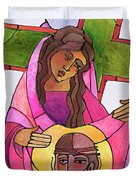Stations Of The Cross - 06 St. Veronica Wipes The Face Of Jesus - Mmvew Duvet Cover