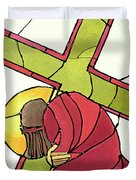 Stations Of The Cross - 07 Jesus Falls A Second Time - Mmjti Duvet Cover