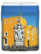 Statue And Yellow Theater Duvet Cover