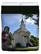 Statue At St. Mary's Church Duvet Cover