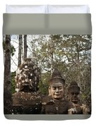 Statue Heads Ankor Thom Duvet Cover