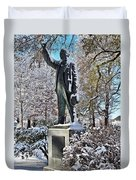 Statue In The Snow Duvet Cover