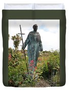 Statue Of Father Serra At Carmel Mission Duvet Cover