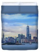 Statue Of Liberty And Manhattan Duvet Cover