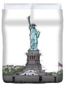 Statue Of Liberty, New York Sketch Duvet Cover