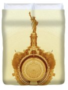Statue Of Liberty Old Yellow World Duvet Cover