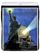 Statue Of Liberty With Steam Train, We Shall Not Fail Duvet Cover