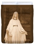 Statue Of Mary At Sacred Heart In Tampa Duvet Cover