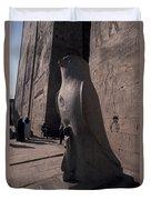 Statue Of The Bird God, Horus Duvet Cover