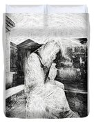 Statue Of Weeping Woman, Lafayette Cemetery, New Orleans In Black And White Sketch Duvet Cover
