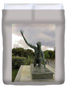 Statue Of Woman Crawling On Marble Street Duvet Cover