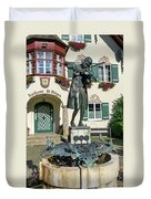 Statue Of Young Wolfgang Amadeus Mozart In St. Gilgen, Austria Duvet Cover