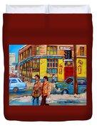 Ste. Catherine Street Montreal Duvet Cover
