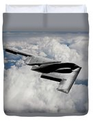 Stealth Bomber Over The Clouds Duvet Cover