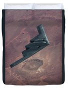 Stealth Over The Arizona Meteor Crater Duvet Cover