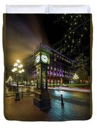 Steam Clock In Gastown Vancouver Bc At Night Duvet Cover