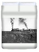 Steam Engines Pulling A Train Duvet Cover