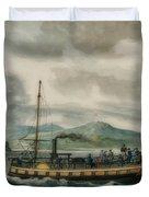 Steamboat Travel On The Hudson River Duvet Cover