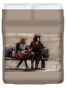 Steampunk - Time Travelers Duvet Cover by Mike Savad