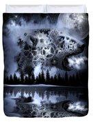 Steampunk Polar Bear Landscape Duvet Cover