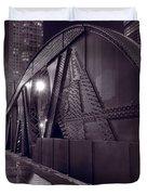 Steel Bridge Chicago Black And White Duvet Cover