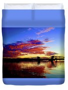 Steel Bridge Sunset Silhouette Duvet Cover
