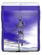 Steel Running Skeleton On Wet Sand Duvet Cover