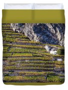 Steep Slope Viticulture In Valais Canton Duvet Cover