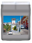 Steep Streets Up The Hills In Valparaiso-chile   Duvet Cover