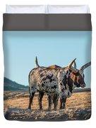 Steers In The Desert Duvet Cover
