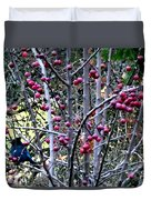 Stellar Jay In Crab Apples Duvet Cover
