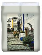 Step Street In Obidos Duvet Cover