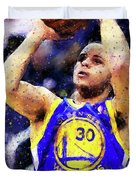Steph Curry, Golden State Warriors - 19 Duvet Cover