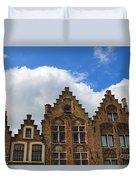 Stepped Gables Of The Brick Houses In Jan Van Eyck Square Duvet Cover