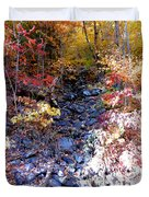 Stepping Stones At Autumn Forest Duvet Cover