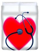 Stethoscope And Plastic Heart Duvet Cover