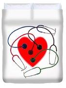 Stethoscopes And Plastic Heart Duvet Cover