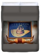 Stetson The Hat Of The West Signage Duvet Cover