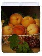 Still Life - Basket Of Peaches Duvet Cover