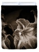 Still. Life. Colorless. Flowers. Duvet Cover