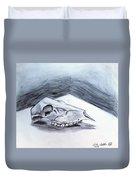 Still Life Drawing Cow Skull 02 Duvet Cover