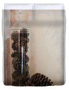 Still Life Of A Glass Jar Of Pine Cones Duvet Cover