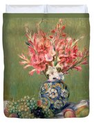Still Life Of Fruits And Flowers Duvet Cover