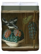 Still Life Of Grapes With A Gray Shrike Duvet Cover