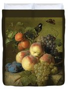 Still Life Of Peaches  Grapes And Plums On A Stone Ledge With A Bird And Butterfly Duvet Cover