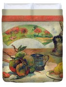Still Life With A Fan Duvet Cover by Paul Gauguin
