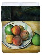 Still Life With A Peach And Two Green Pears Duvet Cover